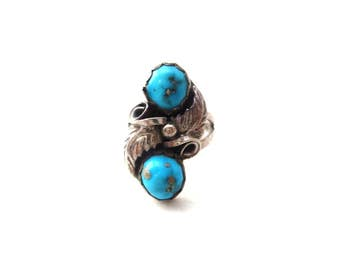 Vintage Sterling Silver Southwestern / Native American Double Stone Genuine Turquoise Cabochon Woman's Size 5.5 Ring