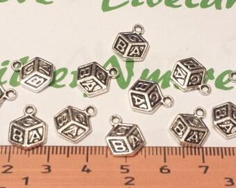 24 pcs per pack 12x9mm Alphabet ABC Charm Antique Silver lead free Pewter