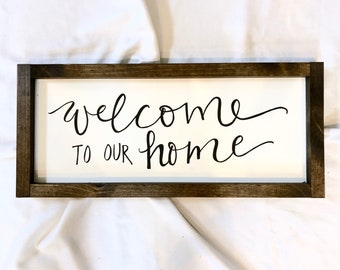 "Welcome to Our Home sign, 10""x23"""