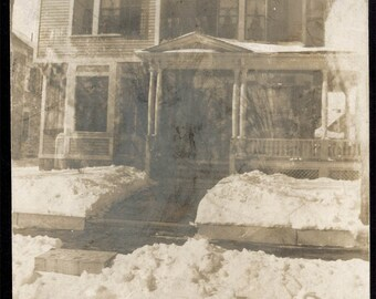 vintage photo 1910 HAunted House Estate Abstract Double Exposure in Snow Vintage SNapshot