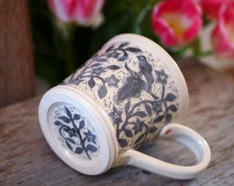 Cup/Mug in Grey and White, Hand Carved with Flowers, Animal Skulls, Birds and an Owl