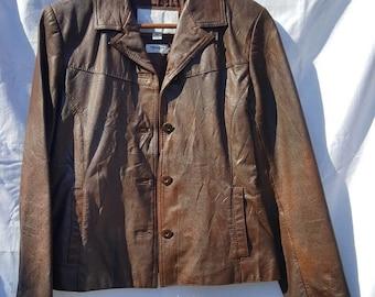 Vintage Wilsons Distressed Leather Coat Jacket