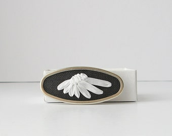 White wing brooch, bird's wing pin, embroidered jewelry, silk ribbon embroidery, bird lover's brooch, black and white oval brooch
