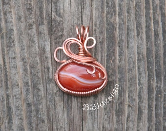 Red Sardonyx Gemstone Cabochon Pendant Necklace Copper Wire Wrapped