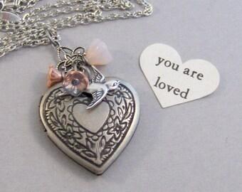 You Are Loved,Heart Locket,Heart Necklace,Locket,Floral Locket,silver Locket,Pink Flower,Flower Locket,Bouquet,Necklace Valleygirldesigns.
