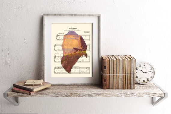 Lion King Mufasa Silhouette Circle of Life Sheet Music Art