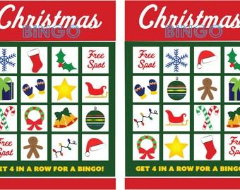 Christmas Bingo Download - Printable Christmas Game - 12 Bingo Sheets and 1 Sheet of Cards
