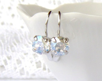 Crystal Moonlight rhinestone earrings / Swarovski / April birthstone / leverback / bridesmaid / wedding / gift for her / girlfriend gift