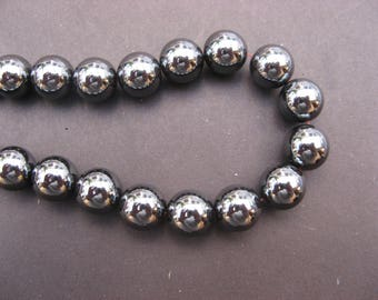 Hematite 10 mm: 6 round beads - grey gemstones-
