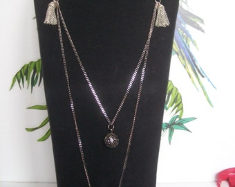 Necklace fabric liberty floral with black curb chain