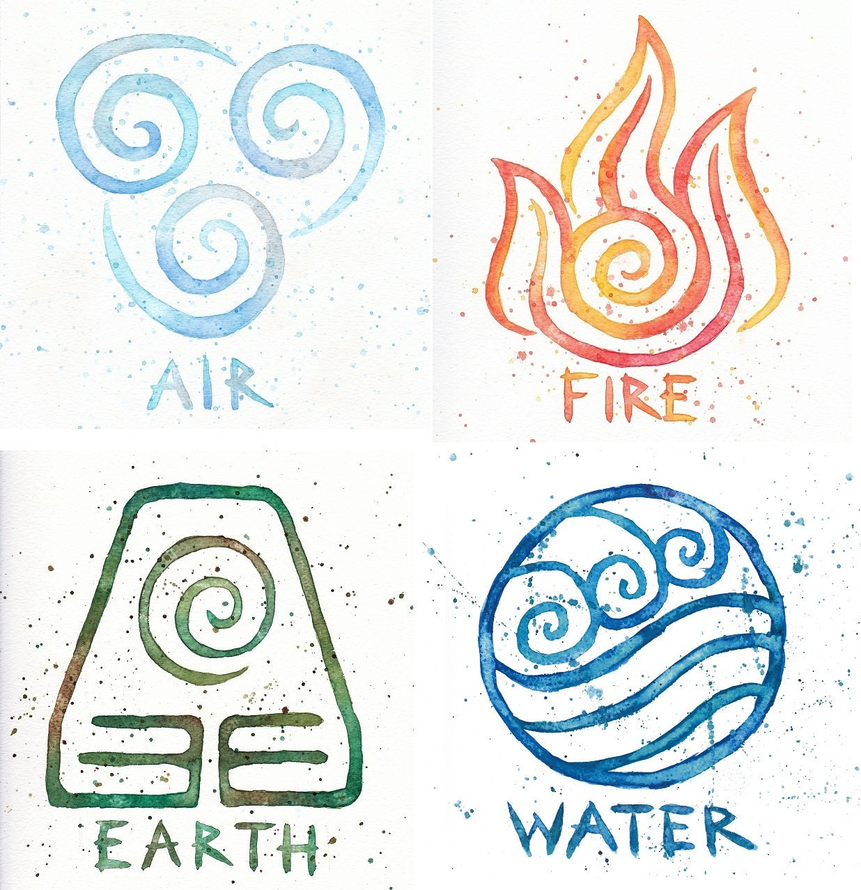 Water earth air fire avatar symbols 10x10 prints four zoom biocorpaavc Image collections
