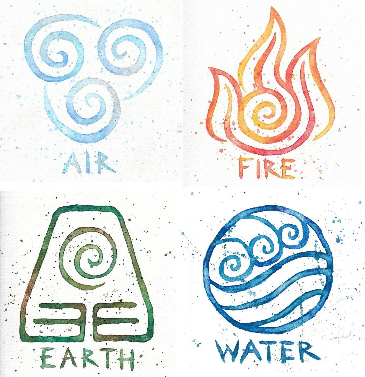 Water earth air fire avatar symbols 10x10 prints four zoom buycottarizona