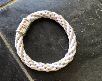 9 inch White with Tan Kumihimo Braid Bracelet with Magnetic Silver Clasp