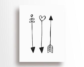Nursery Baby Room Decoration- Monochrome / Scandinavian - Thin Arrows