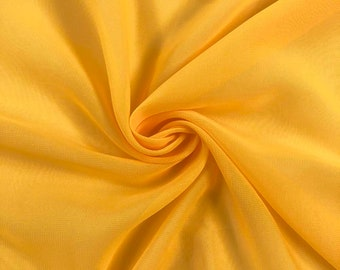 Sunflower Yellow Chiffon Fabric Polyester All Solid Colors Sheer 58'' Wide By the Yard for Garments, Decoration, Crafts