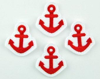ANCHOR - Embroidered Felt Embellishments / Appliques - White & Red (Qnty of 4) SCF7290