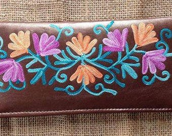 Leather Embroidered Wallet