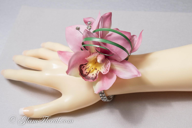 Cymbidium Orchid Wrist Corsages: Mini Orchid Wrist Corsage With Rhinestones. CUSTOM Cymbidium