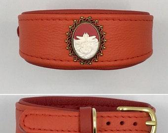 Leather Collar Libellenrot