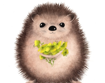 Hedgehog - Original illustrated Board painted on thick premium watercolor paper