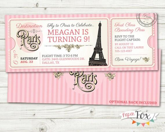 Paris birthday invitation ticket to paris invitation solutioingenieria Choice Image