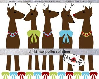 Christmas Polka Reindeer: Clip Art Pack (300 dpi) Digital Images (transparent png) Card Making Scrapbook Xmas X-mas Reindeer Jingle Bells