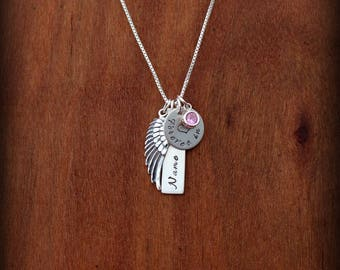 Angel wing necklace, Forever in my heart Memorial necklace