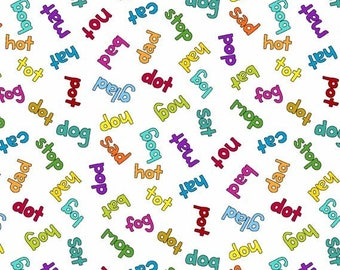 And Z - Words 100% Cotton Fabric by Makower Alphabet Letters Nursery