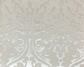 Vinyl Upholstery Fabric - Lyon - Pearl - Damask Designer Pattern Vinyl Home Decor Upholstery Fabric by the Yard - Available in 8 Colors
