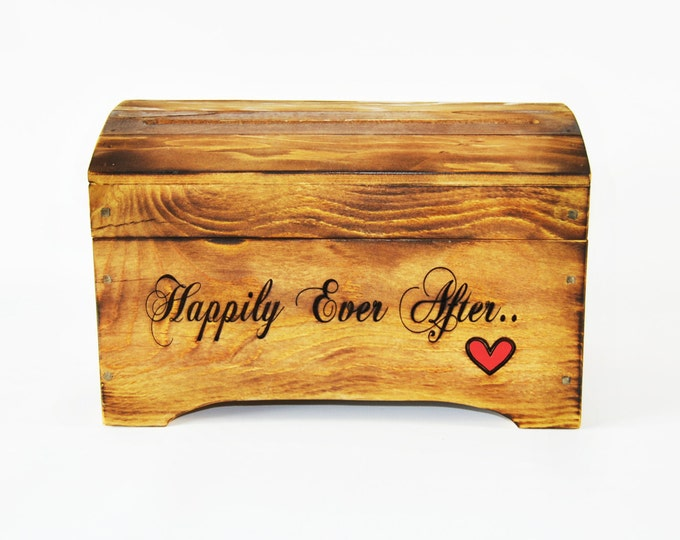 Small 'Happily Ever After' Card Box for Wedding Cards in Rustic Brown Finish