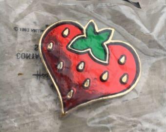 Vintage Hallmark Strawberry Glitter Lapel Pin, Glitter Strawberry Hallmark Pin
