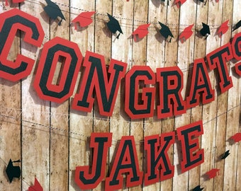 Graduation Banner Congrats Graduate Custom Color Banner Set School Colors Graduation Decor Custom Congrats Banner Graduation Party Decor