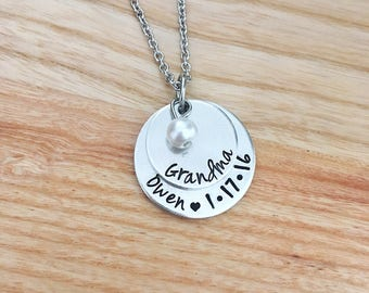 New Grandma Mimi Memaw Bubbe Nana Necklace Jewelry - Personalized Mothers Day Gift for Grandma - Hand Stamped Jewelry - Stacked Necklace