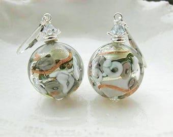 Gray Murano Glass Earrings