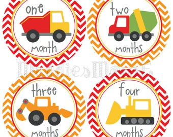 Baby Boy Month Stickers, Monthly Baby Stickers, Milestone Stickers, Baby Month Stickers, Monthly Bodysuit Sticker Trucks (Construction)