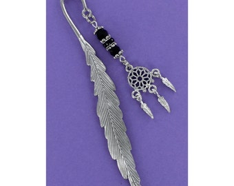 BEADED BOOKMARK Black Swarovski Crystals with Pewter Dream Catcher Charm