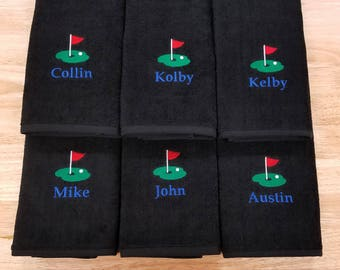 Golf Towel Personalized Grommet Terry Velour Flat Sport Towel Embroidered Monogrammed Groomsmen Gift