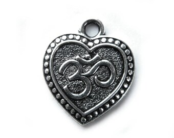6 Silver Om Heart Charms