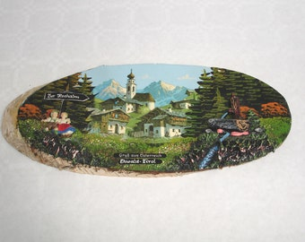 Austria wooden Board souvenir 3d-Tirol at 1970