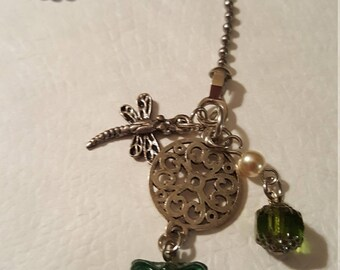 DRAGONFLY with Emerald Butterfly with Crystal - Fan Pull or Light Fixture or Zipper pull or Rear View Mirror Charm - cusotmize