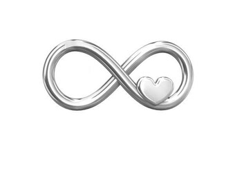 Silver Infinity charm with small heart, Sterling silver Infinity connector link, 925 silver, 16x7mm - 1pc - F411