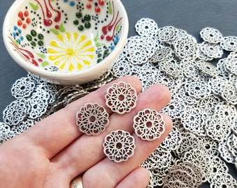 4 Round Fretwork Lace Charms - Matte Silver Plated - SCM107