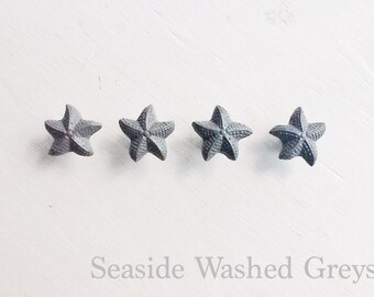 Starfish Drawer Knob In Distressed Grey-Metal-Seaside Cottage-Nautical Mens Room-Autumen Fall Trends-Coastal Bathroom-Modern Home Decor