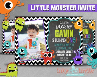 Little Monster Photo Birthday Invite | 1st Birthday Monster Birthday Bash | Monster Birthday Party Invitation, Printable, Picture Invitation