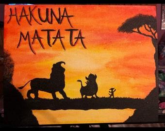 Handmade Lion King Silhouette Painting