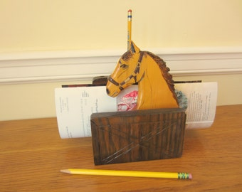 Horse letter holder with pencil slots.  Equestrian desk organizer.