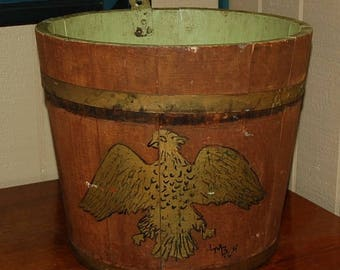 19th Century Sap Bucket with Painted Eagle Design