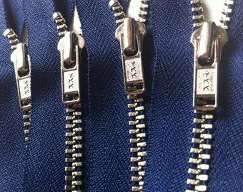 Metal Zippers- 20 inch closed bottom ykk nickel teeth zips- (5) pieces - Navy Blue 919