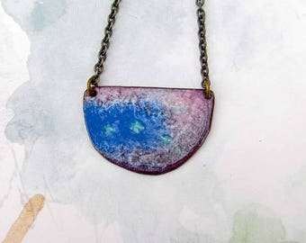 Bohemian jewelry Boho necklace Enamel jewelry Colorful purple blue pendant necklace