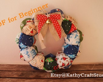 Sewing Pattern for beginner--fabric wreath puff style--christmas home decoration-- PDF Instant download